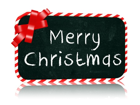 hand-written with chalk text - Merry Christmas on blackboard banner with red ribbon photo
