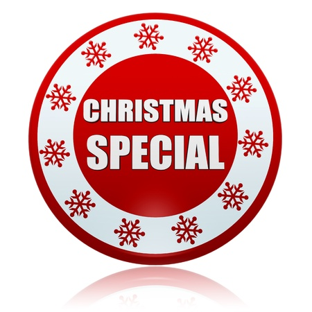 selling off: christmas special 3d red circle banner with white text and snowflakes symbol, business concept