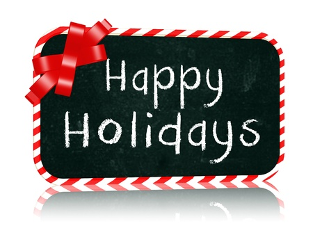 hand-written with chalk text - Happy Holidays on blackboard banner with red ribbon photo