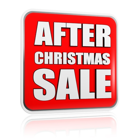 after christmas sale 3d red banner with white text, seasonal business concept photo