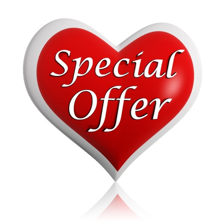 on special offer: valentines day special offer 3d red heart banner with white text, seasonal business concept Stock Photo