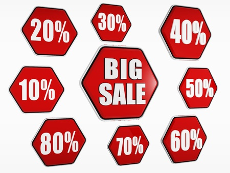 selling off: 3d red hexagon banners with text big sale and percentages like buttons, business concept Stock Photo