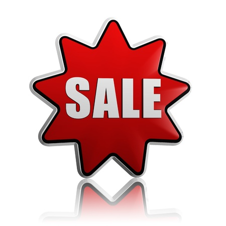 sale - 3d red star banner with white text like button, business concept Stock Photo - 17231403