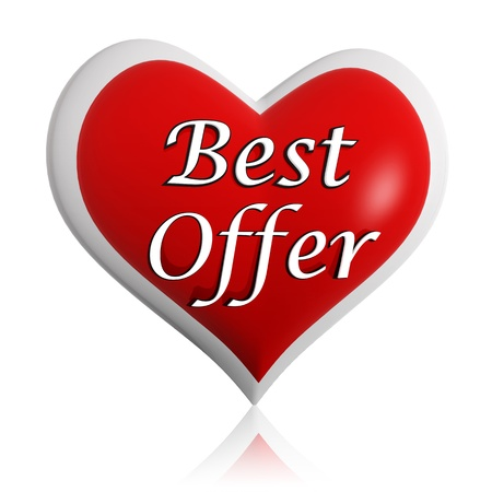 selling off: valentines day best offer 3d red heart banner with white text, seasonal business concept
