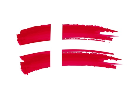 danish: illustration of isolated hand drawn Danish flag