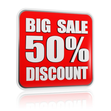 selling off: 3d red banner with text big sale 50 percentages discount, business concept Stock Photo