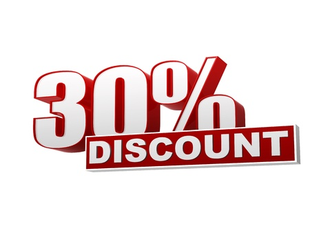 cost reduction: text 30 percentages discount 3d red white banner, letters and block, business concept