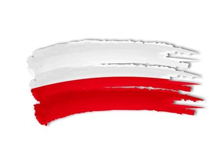 illustratie van geïsoleerde hand getekende Poolse vlag