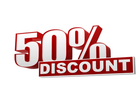 selling off: text 50 percentages discount 3d red white banner, letters and block, business concept Stock Photo
