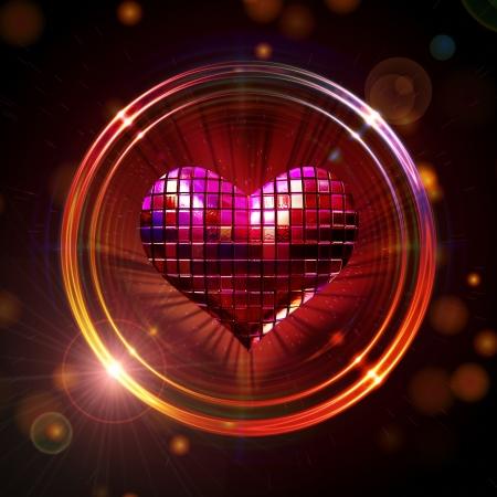 3d brillant coeur de disco rouge anneaux d'or avec des rayons de lumière sur fond scintillant
