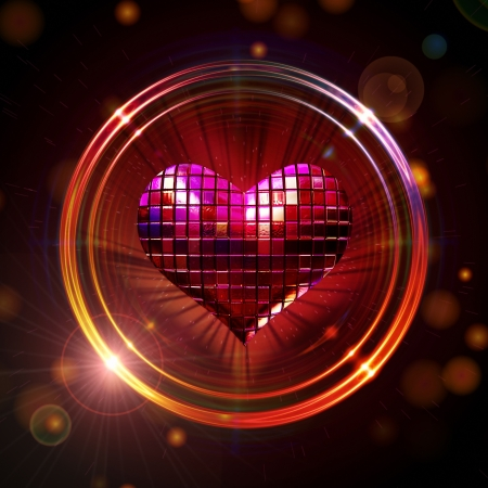 3d shining red disco heart in golden rings with rays of light over glittering background Standard-Bild