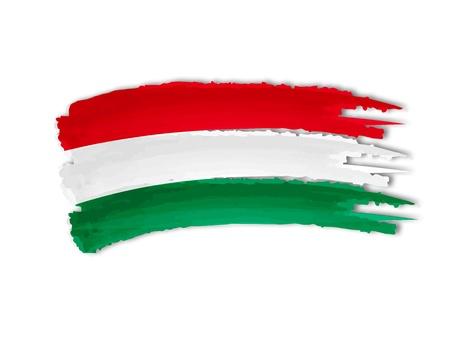macar: İzole el illüstrasyon Macar bayrağı çizilmiş Stok Fotoğraf