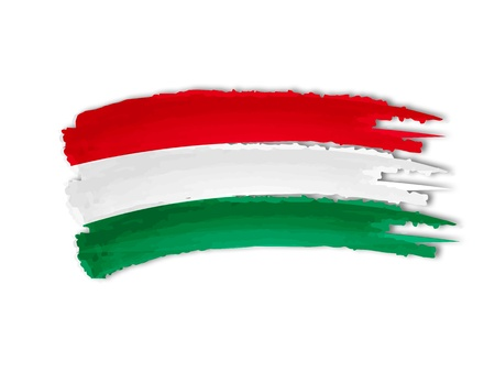 hungarian: illustration of isolated hand drawn Hungarian flag Stock Photo