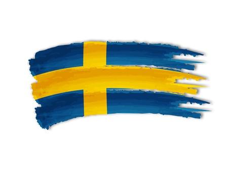 隔離された手のイラストを描かれたスウェーデンの国旗