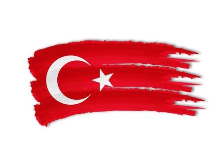 illustration of isolated hand drawn Turkish flag