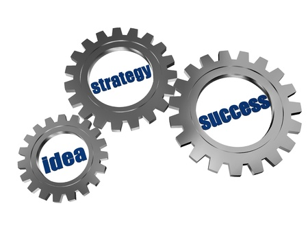 ingenious: idea, strategy, success - words in 3d silver grey gearwheels, business concept Stock Photo