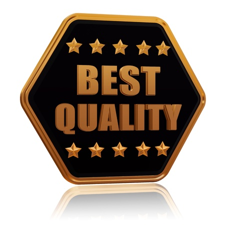best quality - 3d black golden hexagon button with text and five stars Stock Photo - 17438271