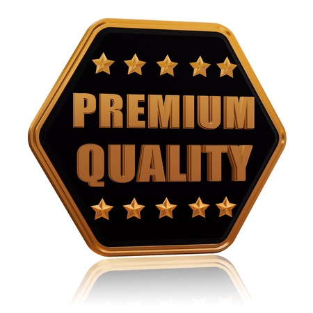 premium quality - 3d black golden hexagon button with text and five stars Stock Photo - 17438321