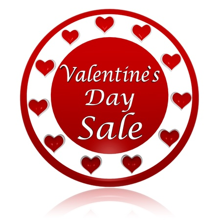 3d red circle banner with text valentines day sale and hearts symbols, holiday and business concept photo