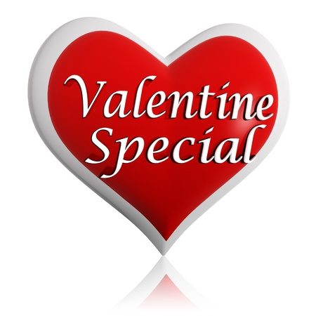 valentine special 3d red heart banner with white text, seasonal holiday business concept Stock Photo - 17570085