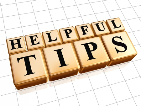 tip up: 3d golden cubes with text helpful tips