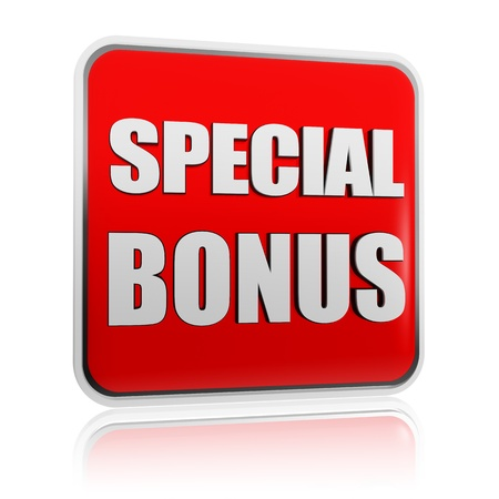 cost reduction: special bonus - 3d red banner with white text like button, business concept