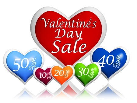 text valentines day sale and different percentages rebate in 3d hearts banners, seasonal business concept Stock Photo - 17570087