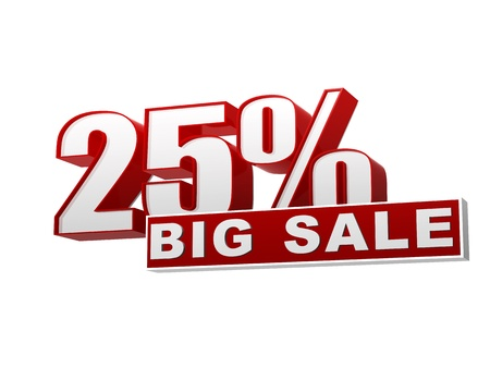 text 25 percentages big sale in 3d red white banner, letters and block, business concept Stock Photo - 17570101