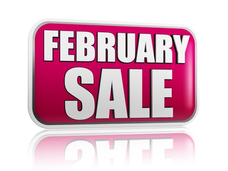 february sale - 3d purple banner with white text like button, business concept Stock Photo - 17570099