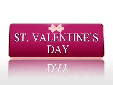 3d purple banner with white text st. valentines day and ribbon, holiday concept photo