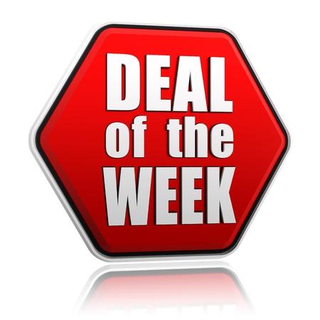deal of the week - text in 3d red hexagon banner like button, business concept Standard-Bild