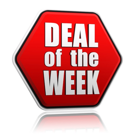 deal of the week - text in 3d red hexagon banner like button, business concept Banco de Imagens