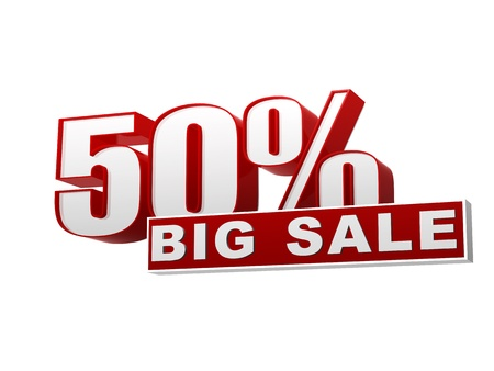 selling off: text 50 percentages big sale in 3d red white banner, letters and block, business concept Stock Photo