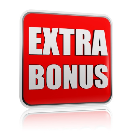 bazar: extra bonus - 3d red banner with white text like button, business concept