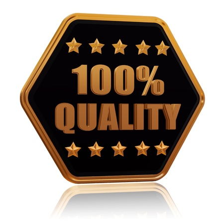 100 percentages quality - 3d black golden hexagon button with text and five stars Stock Photo - 17570209