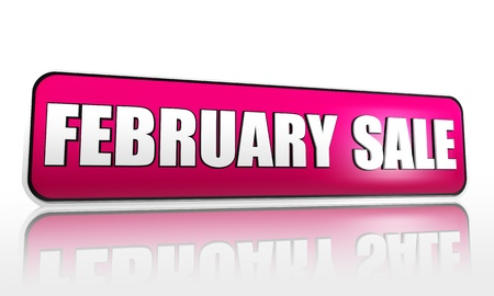 february sale - 3d purple banner with white text, button, business concept Stock Photo - 17570172