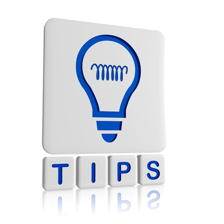 Tips 3d blue icon of bulb and text Stock Photo - 17570169