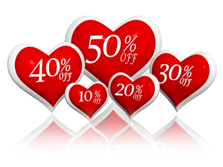 off day: different percentages off rebate in 3d red hearts banners, valentines day sale seasonal business concept
