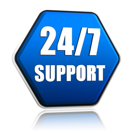 3d blue hexagon button with text 24 7 support Stock Photo - 17570178