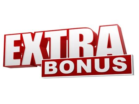 bannière bonus supplémentaire, 3d texte rouge lettres blanches et blocs, concept d'entreprise