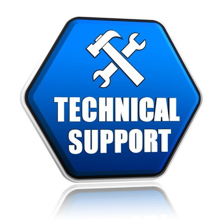 technical support and tools sign, 3d blue hexagon button with text Standard-Bild