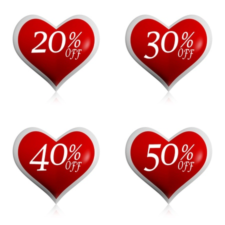 different percentages off rebate in 3d red hearts buttons, valentines day sale, seasonal business concept Stock Photo - 17777565