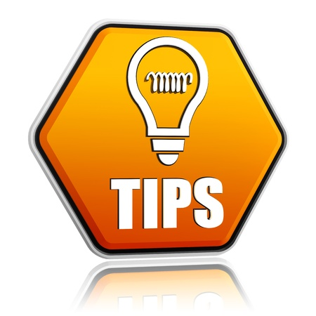 tip up: tips and bulb symbol - 3d orange hexagon button with text