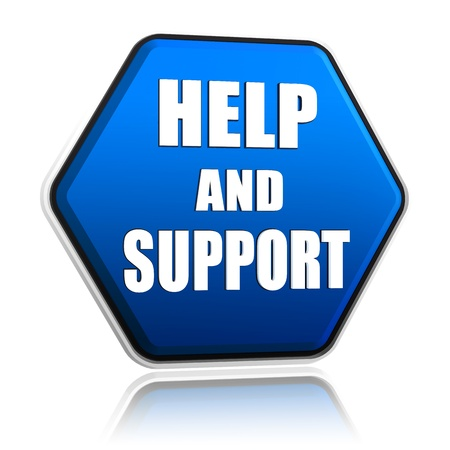 computer key: help and support - 3d blue hexagon button with text