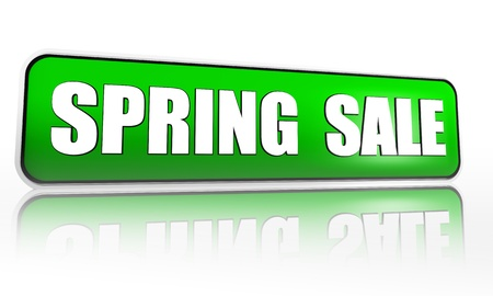 spring sale button - 3d green banner with white text, business concept Stock Photo - 17777570