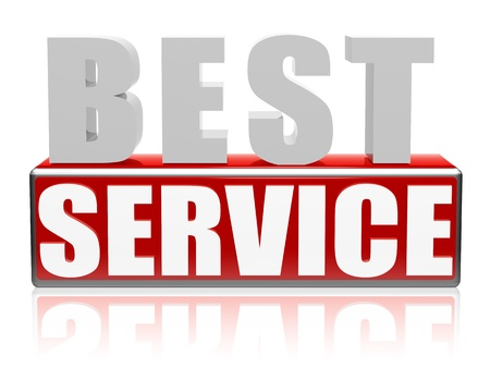 best service - text in 3d letters and block, business concept Stock Photo - 17777578