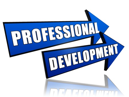professional development: professional development - text in 3d arrows, business concept