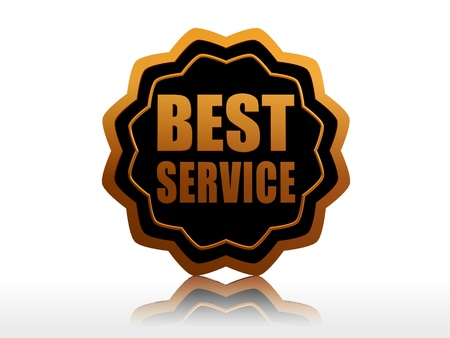 starlike: best service - text in 3d black golden starlike label, business concept Stock Photo
