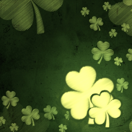 three leaved: shamrocks - vintage green background with white striped flowers over old paper