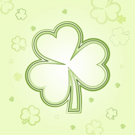 three leaved: shamrocks - light flowers background with green clovers, spring card